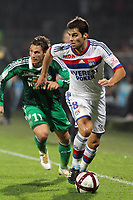 FOOTBALL - FRENCH CHAMPIONSHIP 2011/2012 - L1 - OLYMPIQUE LYONNAIS v AS SAINT ETIENNE  - 29/10/2011 - PHOTO EDDY LEMAISTRE / DPPI - YOANN GOURCUFF (OL)  AND JEREMY CLEMENT (ASSE)