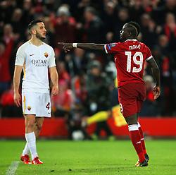 Sadio Mane of Liverpool celebrates after scoring a goal - Mandatory by-line: Matt McNulty/JMP - 24/04/2018 - FOOTBALL - Anfield - Liverpool, England - Liverpool v Roma - UEFA Champions League Semi Final, 1st Leg