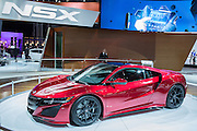 New York, NY - 1 April 2015. The new Acura NSX hybrid sportscar at the New York International Auto Show.The car has a nine-speed transmission and three electric motors.