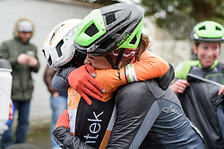 Celebrations cross team rivalries as Sheyla Gutierrez celebrates the win with a former teammate at the 112.8 km Le Samyn des Dames on March 1st 2017, from Quaregnon to Dour, Belgium. (Photo by Sean Robinson/Velofocus)
