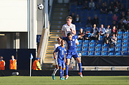 Thomas Doyle of England (8) beats Omri Ram of Israel (8) to a header during the UEFA European Under 17 Championship 2018 match between England and Israel at Proact Stadium, Whittington Moor, United Kingdom on 4 May 2018. Picture by Mick Haynes.