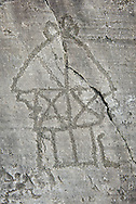 Petroglyph, rock carving, of a house on stilts. Carved by the ancient Camuni people in the iron age between 1000-1200 BC. Rock no 24, Foppi di Nadro, Riserva Naturale Incisioni Rupestri di Ceto, Cimbergo e Paspardo, Capo di Ponti, Valcamonica (Val Camonica), Lombardy plain, Italy .<br /> <br /> Visit our PREHISTORY PHOTO COLLECTIONS for more   photos  to download or buy as prints https://funkystock.photoshelter.com/gallery-collection/Prehistoric-Neolithic-Sites-Art-Artefacts-Pictures-Photos/C0000tfxw63zrUT4<br /> If you prefer to buy from our ALAMY PHOTO LIBRARY  Collection visit : https://www.alamy.com/portfolio/paul-williams-funkystock/valcamonica-rock-art.html