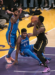 February 8, 2018 - Los Angeles, California, U.S - Corey Brewer #3 of the Los Angeles Lakers goes for a shot as Dakari Johnson #44 of the Oklahoma Thunder goes down while trying to stop him during their NBA game on Thursday February 8, 2018 at the Staples Center in Los Angeles, California. Lakers vs. Thunder. (Credit Image: © Prensa Internacional via ZUMA Wire)