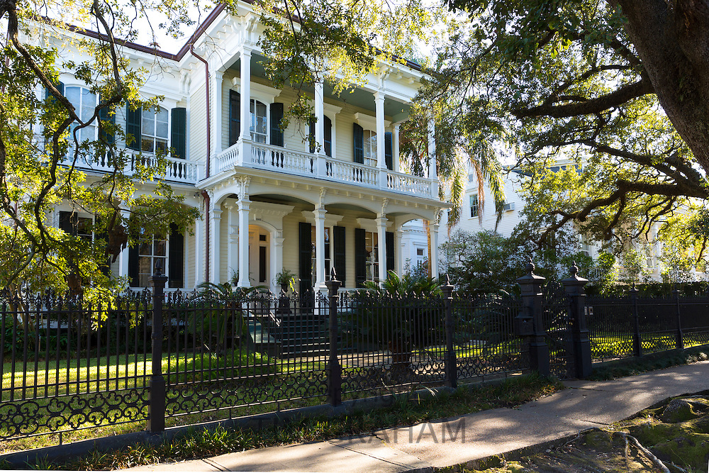 Neo-classical clapboard grand house with double gallery and columns in the Garden District, New Orleans, USA