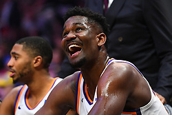 February 13, 2019 - Los Angeles, CA, U.S. - LOS ANGELES, CA - FEBRUARY 13: Phoenix Suns Center DeAndre Ayton (22) looks on from the bench during a NBA game between the Phoenix Suns and the Los Angeles Clippers on February 13, 2019 at STAPLES Center in Los Angeles, CA. (Photo by Brian Rothmuller/Icon Sportswire) (Credit Image: © Brian Rothmuller/Icon SMI via ZUMA Press)