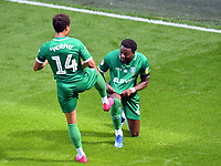 Football - 2019 / 2020 Sky Bet (EFL) Championship - Queens Park Rangers vs. Sheffield Wednesday<br /> <br /> Sheffield Wednesday's Jacob Murphy celebrates scoring his side's third goal with Dominic Iorfa, at Kiyan Prince Foundation Stadium (Loftus Road).<br /> <br /> COLORSPORT/ASHLEY WESTERN