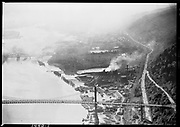 "Ackroyd 01450-1 ""St. Johns Bridge & haze over Portland. April 26, 1949"" (aerial view of west end, Gasco, DEQ site ID 84, 5x7"")"