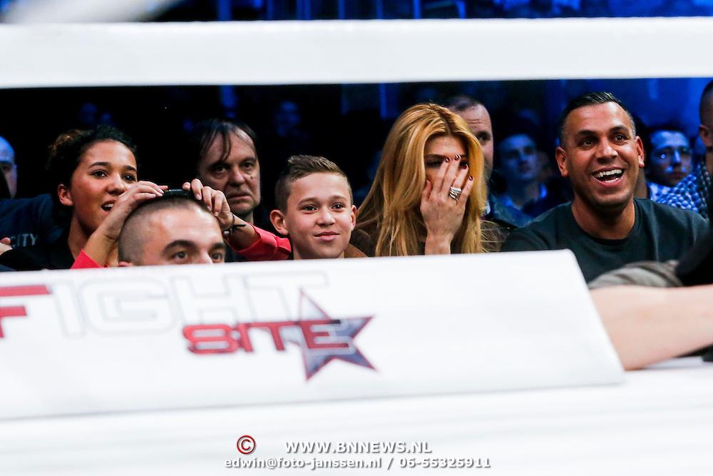 CRO/Zagreb/20130315- K1 WGP Final Zagreb, Estelle Cruijff kijkt vol emotie naar Badr Hari vs Zabit Samedov
