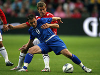 Fotball , 6. september 2006 , EM-kvalifisering , Norge - Moldova 02,<br /> Euro - q.<br /> Norway - Moldova<br /> Victor Berco , Moldova og Marius Johnsen , Norge