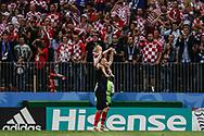 Domagoj Vida of Croatia celebrates with his son after winning the 2018 FIFA World Cup Russia, semi-final football match between Croatia and England on July 11, 2018 at Luzhniki Stadium in Moscow, Russia - Photo Thiago Bernardes / FramePhoto / ProSportsImages / DPPI