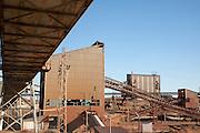 Heavy industry conveyor belts of opencast mineral extraction in the Minas de Riotinto mining area, Huelva province, Spain