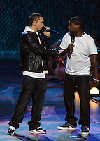 New York, NY-September 13, 2009: Eminem and Tracey Morgan perform during the MTV Video Music Awards at Radio City Music Hall on September 13, 2009 in New York City (Photo by Jeff Snyder/PictureGroup)