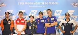September 23, 2017 - AlcañIz, Teruel, Spain - 44 Miguel Oliveira (Por) Red Bull Ktm Ajo Ktm .#46 Valentino Rossi (Italian) Movistar Yamaha Motogp Yamaha.#25 Maverick Viñales (Spanish) Movistar Yamaha Motogp.n Yamaha .#99 Jorge Lorenzo (Spanish) Ducati Team Ducati.#88 Jorge Martin (Spa) Del Conca Gresini Moto3 Honda and Ana Carrasco in the qualifying press conference of the Gran Premio Movistar de Aragon, Circuit of Motorland, Alcañiz, Spain. Saturday, 23rd september, 2017. (Credit Image: © Jose Breton/NurPhoto via ZUMA Press)