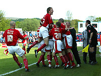 Photo: Paul Greenwood.<br />Accrington Stanley v Macclesfield Town. Coca Cola League 2. 28/04/2007.<br />Accrington's Michael Welch (5) celebrates the third goal