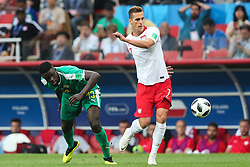 June 19, 2018 - Moscow, Russia - Alfred Ndiaye (SEN),Arkadiusz Milik (POL) during the 2018 FIFA World Cup Russia group H match between Poland and Senegal at Spartak Stadium on June 19, 2018 in Moscow, Russia. (Credit Image: © Foto Olimpik/NurPhoto via ZUMA Press)