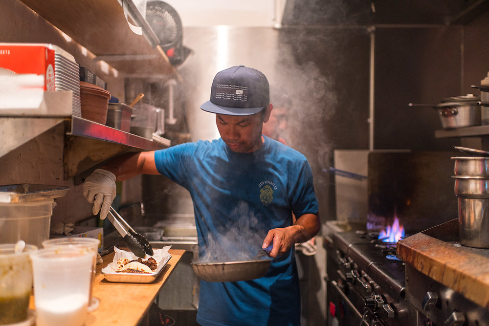 BROOKLYN, NY - SEPTEMBER 10, 2016: Chef Dennis Mendoza at work in the kitchen at Swell Dive in Brooklyn. CREDIT: Emon Hassan for The New York Times