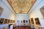Room of The Bourbons of Naples, Spain and France. This room contains portraits of the Bourbon Dynasty. The Kings of Naples Royal Palace of Caserta, Italy. A UNESCO World Heritage Site .<br /> <br /> Visit our ITALY HISTORIC PLACES PHOTO COLLECTION for more   photos of Italy to download or buy as prints https://funkystock.photoshelter.com/gallery-collection/2b-Pictures-Images-of-Italy-Photos-of-Italian-Historic-Landmark-Sites/C0000qxA2zGFjd_k<br /> <br /> <br /> Visit our EARLY MODERN ERA HISTORICAL PLACES PHOTO COLLECTIONS for more photos to buy as wall art prints https://funkystock.photoshelter.com/gallery-collection/Modern-Era-Historic-Places-Art-Artefact-Antiquities-Picture-Images-of/C00002pOjgcLacqI