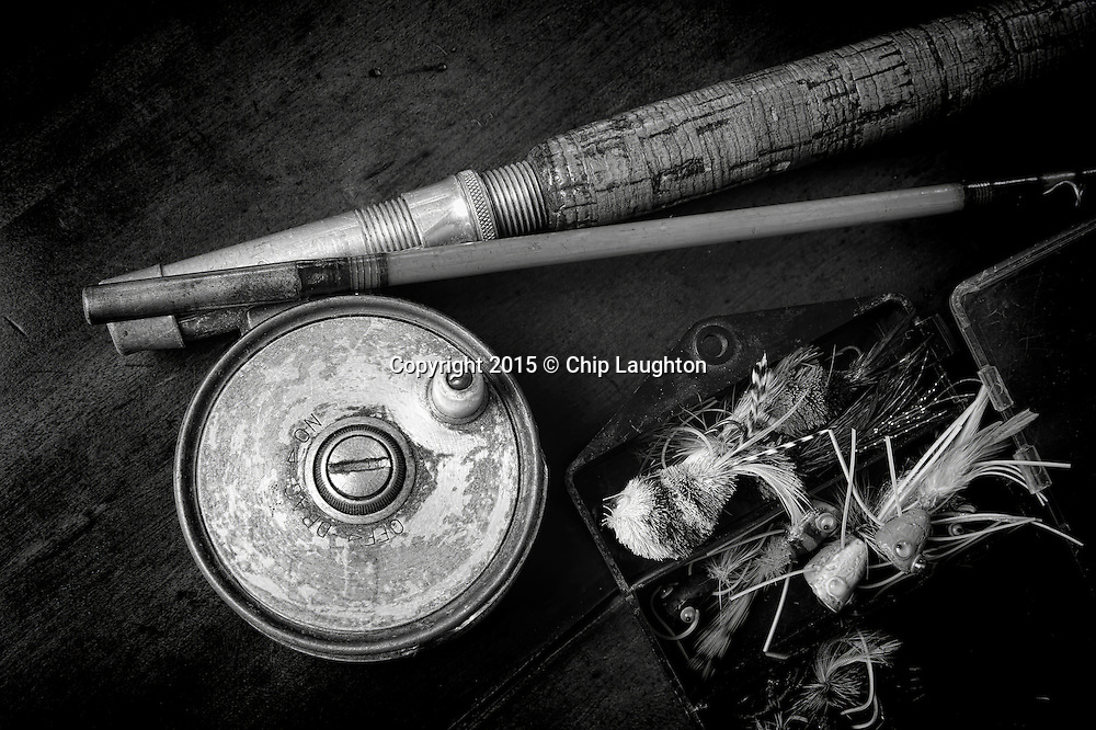 Antique fly rod and reels stock photo image