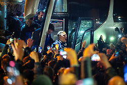 © Licensed to London News Pictures. 09/05/2021. Bolton, UK. Captain ANTONI SARCEVIC steps out of the coach . Bolton Wonderers supporters celebrate outside the University of Bolton stadium as their team coach returns home following BWFC winning promotion to League One after the team's 1-4 victory over Crawley Town . Photo credit: Joel Goodman/LNP