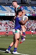 Patrick Herbert celebrates his try with Adam Keighran. Vodafone Warriors v Manly Sea Eagles. NRL Rugby League, Central Coast Stadium, Gosford, NSW, Australia, Sunday 27th September 2020 Copyright Photo: David Neilson / www.photosport.nz