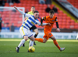 Morton's Lawrence Shankland and Dundee United's Charlie Telfer. Dundee United 1 v 1 Morton, Scottish Championship game played 25/2/2017 at Tannadice Park.