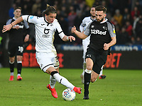 Football - 2019 / 2020 Sky Bet (EFL) Championship - Swansea City vs. Derby County<br /> <br /> Conor Gallagher of Swansea City & Graeme Shinnie of Derby County, at The Liberty Stadium.<br /> <br /> COLORSPORT/WINSTON BYNORTH