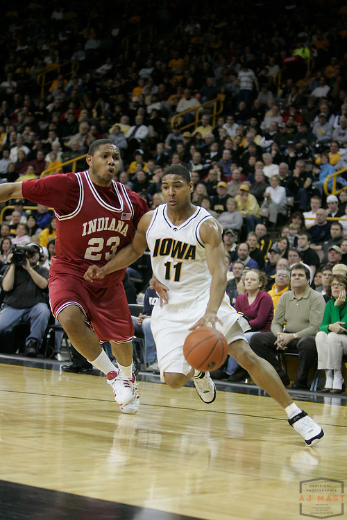 02 January 2008: Iowa guard Tony Freeman (11) as the Indiana Hoosiers played the Iowa Hawkeyes in a college basketball game  in Iowa City, Ia.