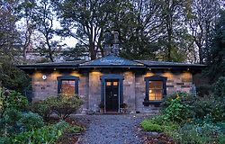 View of Gardener's Cottage restaurant at night in Edinburgh, Scotland, United Kingdom.