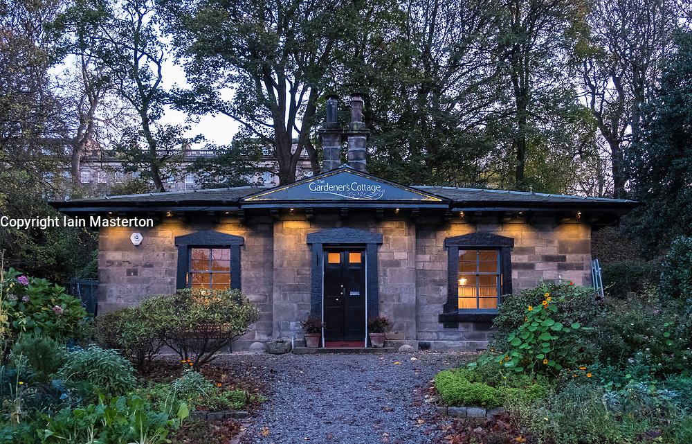 View of Gardener's Cottage restaurant at night in Edinburgh, Scotland, United Kingdom.