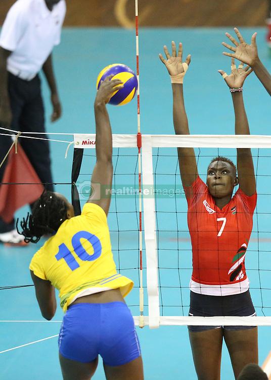 Seraphine Mukantambara of Rwanda spikes against Veronicah Kilabat of Kenya during their U23 Africa Nations Championship at Safaricom Stadium Stadium in Nairobi on October 27, 2016. Kenya won 3-1. Photo/Fredrick Onyango/www.pic-centre.com (KEN)