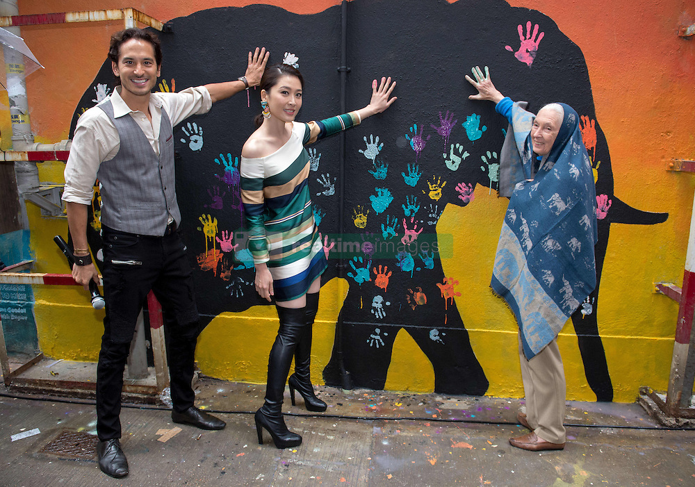 November 10, 2016 - Hong Kong, Hong Kong S.A.R, China - Cantopop singer and movie star, Niki Chow (m) joins Conservationist Dame Dr Jane Goodall (R), to unveil a wall painting by local artist Adam Lo of her self and animals. Photographer Sean Lee- Davies (L) arranged the project..''Walls of Change'' street art in Hong Kong painted ahead of the The √íHope for Wildlife√ì Gala Dinner to raise awareness for the plight of endangered animals the world over...Sai Yin Pun Hong Kong.10th November 2016. Photo by Jayne Russell (Credit Image: © Jayne Russell via ZUMA Wire)