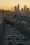 Heavy rush hour traffic on the I-5 freeway in Seattle, Washington.