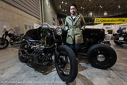 Shinsuke Takizawa of the Neighborhood fashion brand with his cycles and Hot Rod at the Annual Mooneyes Yokohama Hot Rod and Custom Show. Japan. Sunday, December 7, 2014. Photograph ©2014 Michael Lichter.