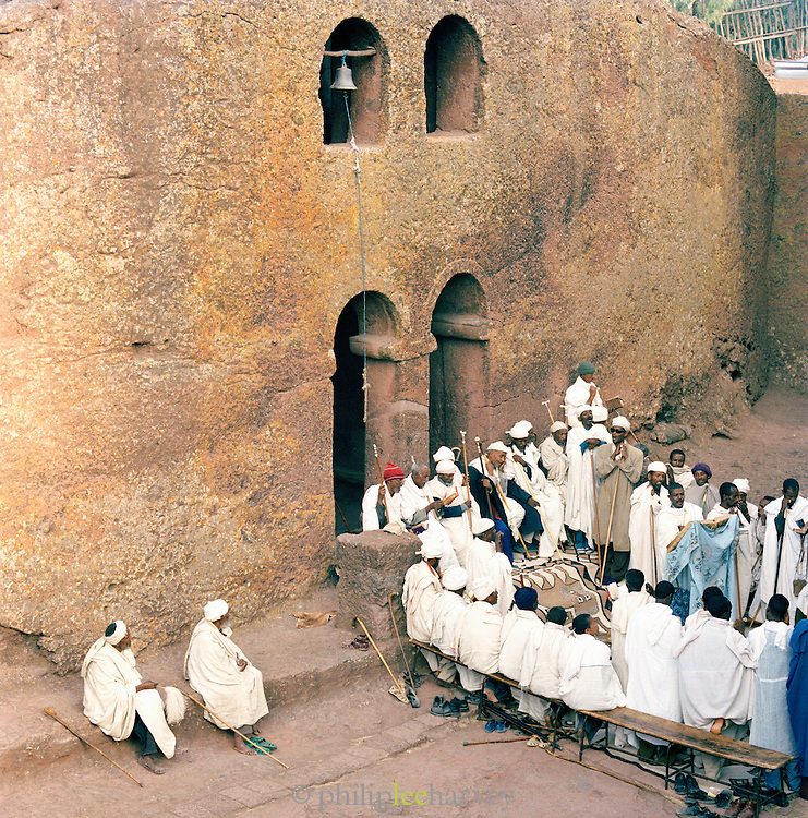 Priests at a religious church service at a church, Lalibela, Ethiopia