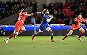 Sale Sharks wing Marland Yarde breaks through the Leicester Tigers defence to score his first try during a Gallagher Premiership Rugby Union match Sale Sharks -V- Leicester Tigers, Sale won the match 36-3 on Friday, Feb. 21, 2020, in Eccles, United Kingdom. (Steve Flynn/Image of Sport via AP)