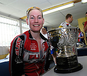 UK, Chelmsford, 28 June 2009: EMILIE FISHER (LS) XRT/ELMY CYCLES LS with the trophy for posting the fastest female time in the  Chelmer Cycle Club's Open Time Trial Event on the E9 / 25 course. Photo by Peter Horrell / http://peterhorrell.com .