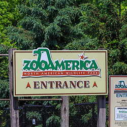 Hershey, PA / USA - May 21, 2018: The entrance to ZooAmerica, a zoo attraction at Hersheypark that features species from America.