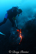Bud Turpin creates rock sculptures underwater by forming red-hot lava flowing from Kilauea Volcano, Hawaii Island ( the Big Island ), Hawaii, U.S.A. ( Central Pacific Ocean ) MR 310