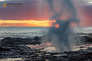 The Spouting Horn at sunset near Poipu in Kauai, Hawaii, USA