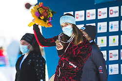 Julia Dujmovits (AUT) during medal ceremony after parallel giant slalom FIS Snowboard Alpine world championships 2021 on 1st of March 2021 on Rogla, Slovenia, Slovenia. Photo by Grega Valancic / Sportida