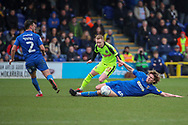 AFC Wimbledon defender Mads Bech Sorensen (26) performing a sliding tackle during the EFL Sky Bet League 1 match between AFC Wimbledon and Bolton Wanderers at the Cherry Red Records Stadium, Kingston, England on 7 March 2020.