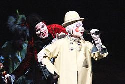 © London News PIctures. Little Tamir; Elodie Dufau; Fleur; Andrey Kislitsin perform at Cirque Du Soleil Alegria opening night, O² Arena, London UK, 18 July 2013. Photo credit: Richard Goldschmidt/LNP