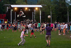 Boys playing football while Siddharta performing at Slovenian ice-hockey player NHL Champion Anze Kopitar welcome ceremony when he arrived home after winning Stanley Cup at the end of season 2011/2012, on June 20, 2012, at Hrusica, Jesenice, Slovenia. (Photo By Matic Klansek Velej / Sportida)