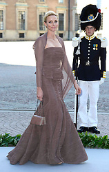 Princess Charlene of Monaco departs for a travel by boat to Drottningholm Palace for dinner after the wedding ceremony of Princess Madeleine of Sweden and Christopher O'Neill hosted by King Carl Gustaf XIV and Queen Silvia at The Royal Palace in Stockholm, Sweden, June 8, 2013 . Photo by Schneider-Press / i-Images. .UK & USA ONLY