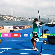 Deepika KUMARI (IND) (L) and Alejandra VALENCIA (MEX) (R) competes in Archery World Cup Final in Istanbul, Turkey, Sunday, September 25, 2011. Photo by TURKPIX