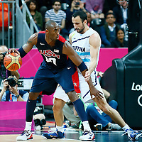 06 August 2012: USA Kobe Bryant posts up Argentina Manu Ginobili during 126-97 Team USA victory over Team Argentina, during the men's basketball preliminary, at the Basketball Arena, in London, Great Britain.