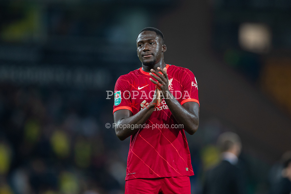 NORWICH, ENGLAND - Tuesday, September 21, 2021: Liverpool's Ibrahima Konaté applauds the travelling supporters after the Football League Cup 3rd Round match between Norwich City FC and Liverpool FC at Carrow Road. Liverpool won 3-0. (Pic by David Rawcliffe/Propaganda)