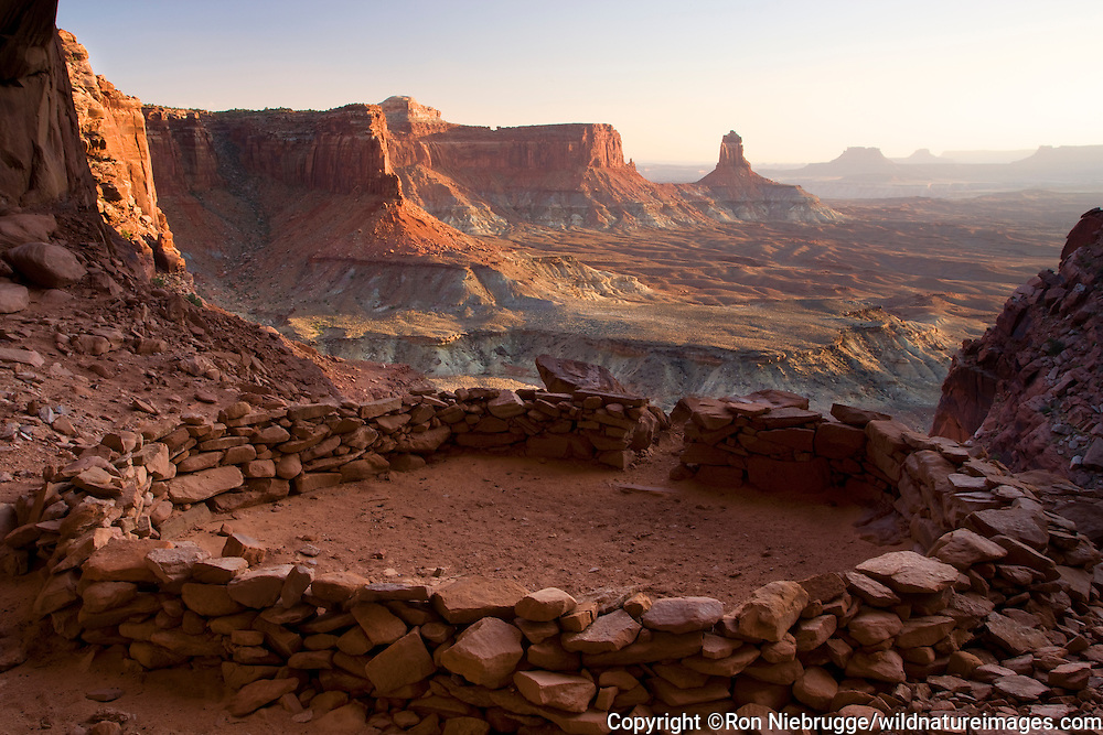 Native American structure known as False Kiva, Island in the Sky District, Canyonlands National Park, near Moab, Utah.