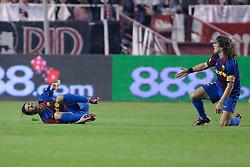 03-03-2007 VOETBAL: SEVILLA FC - BARCELONA: SEVILLA  <br /> Sevilla wint de topper met Barcelona met 2-1 / Puyol en Rafael Marquez Álvarez<br /> ©2006-WWW.FOTOHOOGENDOORN.NL