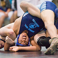 120812       Cable Hoover<br /> <br /> Window Rock Scout Kee Lilly and Piedra Vista Panther Levi Savage grapple during the Gallup Duals wrestling meet at Chief Manuelito Middle School in Gallup Saturday.